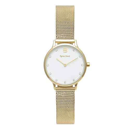 Byron Bond Mark 5 - Luxury 32mm Wrist Watches for Women (Camden - Gold Case with White Dial with Crystals and Gold Mesh Strap)