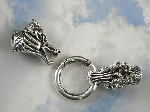 (Pendant Jewelry Making Dragon Head Snap Clasp Ring Closure Silver Tone 7mm 10mm Tube Glue)