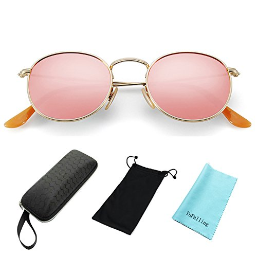 YuFalling Polarized Sunglasses for Men and Women, Classic Vintage Small  Round Lens Pink c6202a3b4d8e