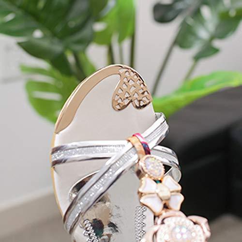 Talons Mode Plat Sandales Plage Hauts Chaussures Compensées Argent Sandale D'été Femmes De Casual 2019 Cristal Sunnywill TYdzwPqz