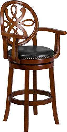 (MPR 30'' High Brandy Wood Barstool with Arms and Black Leather Swivel Seat)