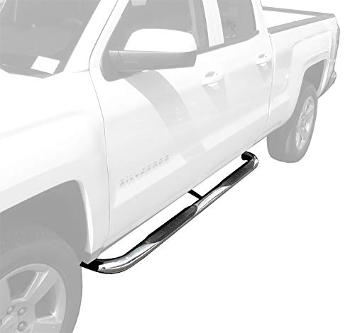 Tyger Auto 3inch Stainless Steel Side Step Nerf Bars 2pcs Fit 1999-2017 Silverado/Sierra Extended & Double Cab - Board Running K1500