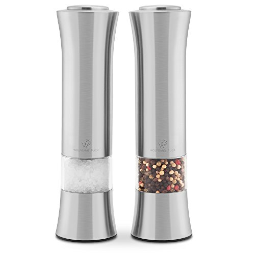 Wolfgang Puck Electronic Stainless Steel Spice Mills for Pepper, Salt, Herbs, and Spices, Battery Operated (Pack of 2)