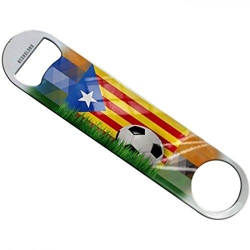 NEONBLOND Soccer Team Flag Catalonia region Spain Flat Beer Bottle Opener Heavy Duty Bartender by NEONBLOND