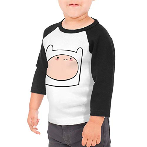 Kid's Adventure Time Toddlers Jersey 3/4 Sleeve Rags Baseball T Shirt for 2-6T Boys and Girls Black