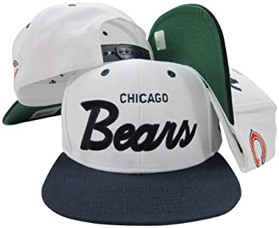 Chicago Bears White/Navy Script Two Tone Adjustable Snapback Hat / Cap