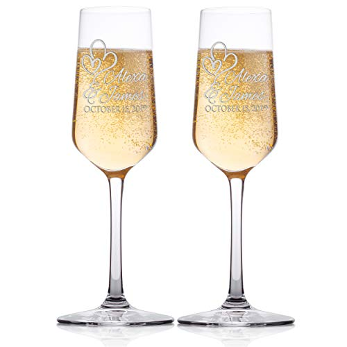 Set of 2 - Personalized Wedding Champagne Flute Glasses, Customized Wedding Champagne Glasses for Bride and Groom Names With Script Font and Two Hearts, Mr & Mrs Celebration Champaign Flute Set - C8