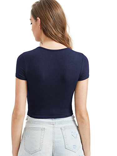 te Courte Crop Blouse Manches Ajuste T DIDK Top Col Marine1 Femme Shirts Rond q6XPPxFB