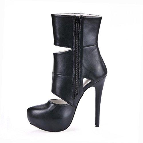 Stiletto Rubber Women's Summer Unique Autumn Sole 14 5CM Premium Ankle Shoes High Boots Black Toe Round 4U Heels PU Best Zipper 5npqx8A0wx