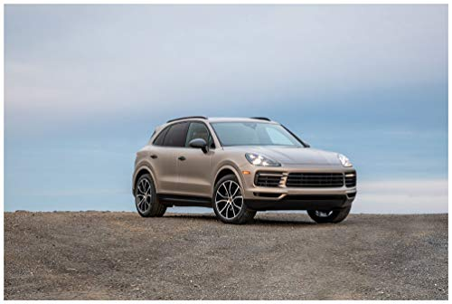 Porsche Cayenne (2019) Car Art Poster Print on 10 Mil Archival Satin Paper Light Brown Front Side Static View (11