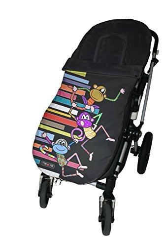 Tris&Ton Saco silla de paseo universal para bebe modelo Monkey, Saco funda cochecito con forro