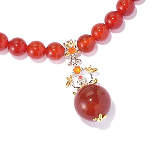 Michael Valitutti Carnelian, Fire Opal and Orange Sapphire Floral Drop & Beaded Strand Toggle (Orange Sapphire Necklace)