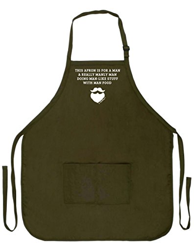 (ThisWear Funny Aprons Men Really Manly Man Food Funny Grilling Apron Two Pocket Man Apron Military Olive Green)