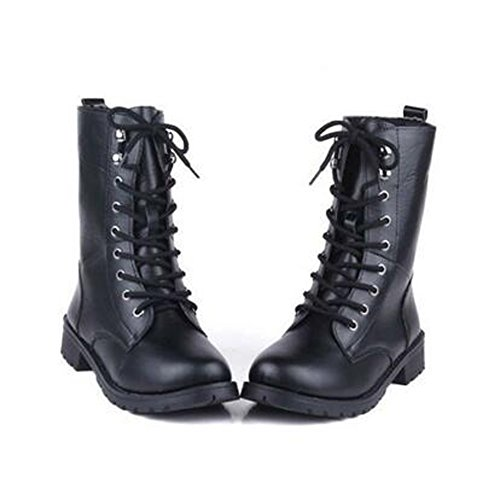 ANDAY Cool Black PU Leather Women's Flats Martin Boots Motorcycle Rider Boots VClT9b