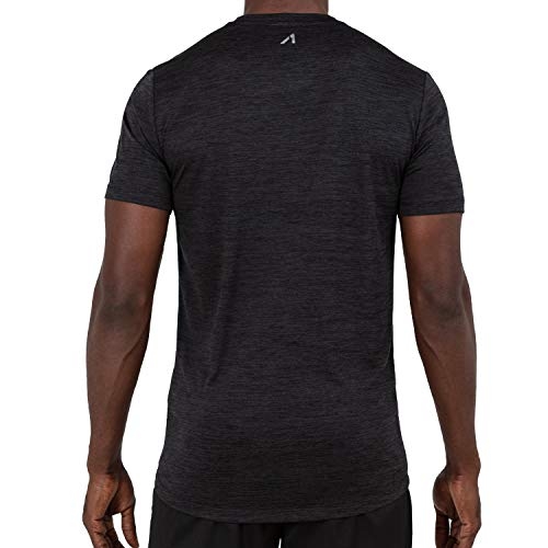 682f248ffff6a Alive Men's Tee Shirt Active Quick Dry Workout Short Sleeve Shirts Crew  Neck (Large, Rich Black Heather)