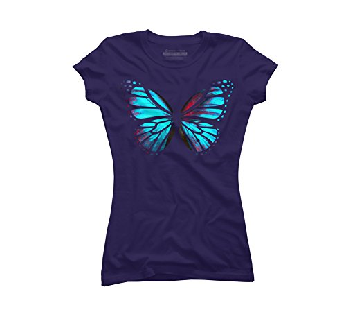 Design By Humans Blue Red Butterfly Juniors' Medium Purple Graphic T (Butterfly Fairy T-shirt)