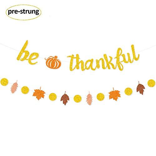 - Be Thankful Glitter Banner Thanksgiving Banner Fall Banner Pre-Strung