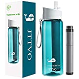 JTTVO Filtered Water Bottle with Integrated 4 Stage Filter Straw,BPA Free Water Puifier Bottle for Travel,Hiking,Camping,Backpacking