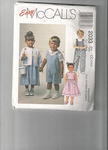 (McCall's 2033 Childs Sunsuit, Sundress Toddler Pattern Size CC 2,3,4 Wedding)