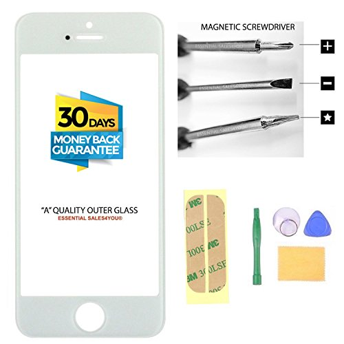 Apple iPhone 5 5C 5S SE 4' inch Front Outer Screen Glass Lens Replacement Parts Tool + Repair Kit Tools to open and Replace Cellular Part + 3M Tape ( WHITE )
