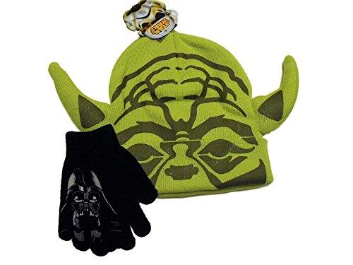 Star Wars Yoda Face Green Mask Knit Beanie Hat Darth Vader Black Gloves (Yoda Beanie)