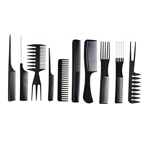 Pro Styling Comb - Yeefant 10Pcs Black Multifunction Pro Salon Hair Styling Barbers Brush Combs Set Hairdressing Tool Hair Massage for Women Men Kids,7.9 Inch