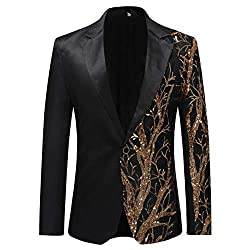 Men's Notched Lapel Sequins Floral Suit