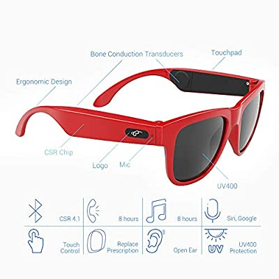 AOSHE Bluetooth Sunglasses,Smart Touch Bluetooth Glasses,Protection Safety Lenses for Outdoor Sports Compatible for All Editions of Smart Phone (Unisex)