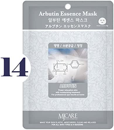 Pack of 14, The Elixir Beauty MJ Korean Cosmetic Full Face Collagen Arbutin Essence Mask Pack Sheet for Vitality, Clarity, Mosturizing, Relaxing