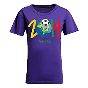 Brasil 2014 FIFA World Cup Theme Short Sleeve T-shirt,Football Background Womens Cotton shirts for Fans Purple by supermalls