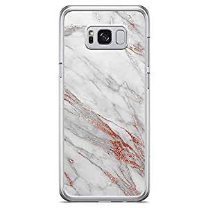 Samsung Galaxy S8 Transparent Edge Phone Case Gold Marble Phone Case Bronze Phone Case Marble Bronze Samsung S8 Cover with See through edges