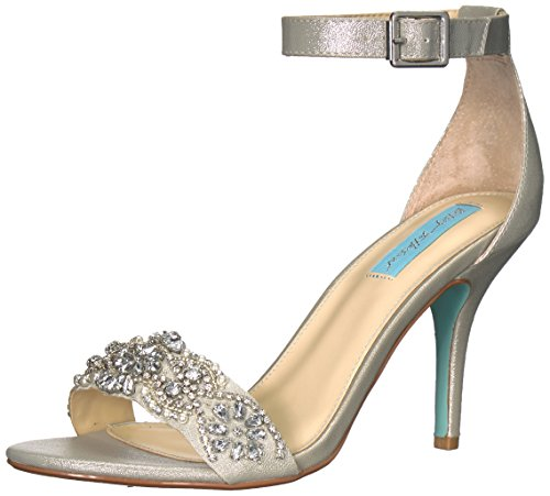 Blue by Betsey Johnson Women's SB-Gina Heeled Sandal, Silver, 8 W US by Blue by Betsey Johnson