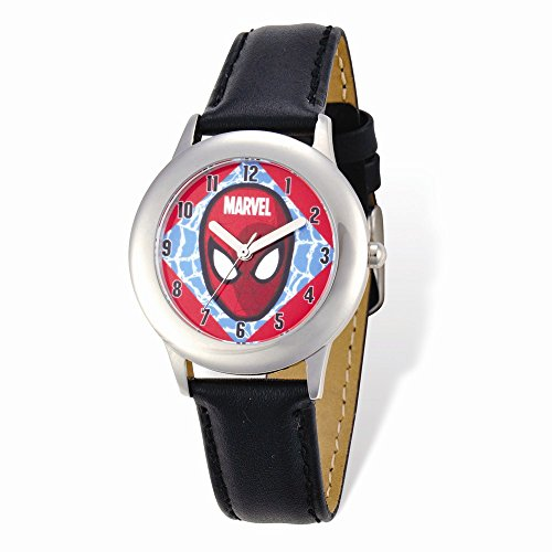 Marvel+Watches Products : Marvel Spiderman Face Black Leather Tween Watch