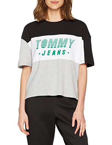 shirt Maniche Black T Color tommy Logo Multi 903 Jeans Tommy Block Racing Corte Blu Donna g00wH8