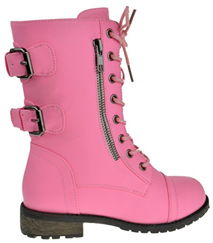 Forever Link Girls Mango 61K Lace Up Boots | Combat Boots For Girls | Zipper Boots | Toddler Girl Shoes | Little Girl Shoes | Pink 1