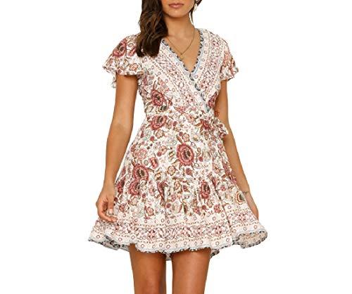 Vska Women's Belted Floral Print Pleated V-Neck Short Sleeve Dresses White S