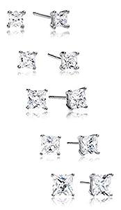 Regetta Jewelry 5 Pair Set 925 Sterling Silver Cubic Zirconia Earrings Set, 3mm 4mm 5mm 6mm 7mm by Regetta Jewelers