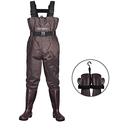 Dark Lightning Fly Fishing Waders for Men and Women with Boots, Mens Womens High Chest Wader with Boot Hanger