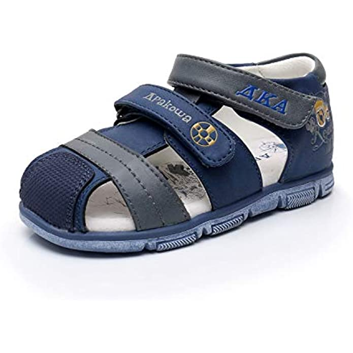 Ahannie Kids Boys Double Adjustable Strap Closed-Toe Sandals Summer Shoes with Arch Support