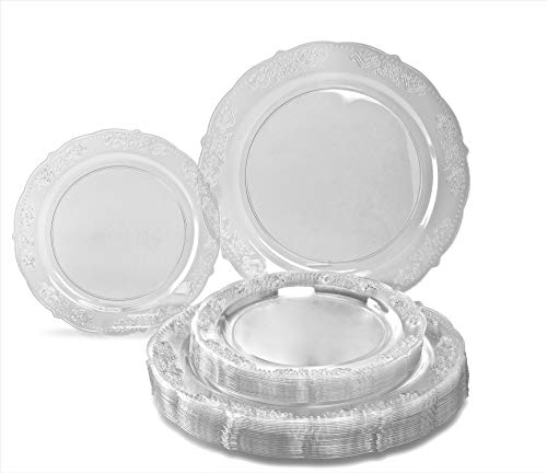 OCCASIONS 240 PACK Wedding Heavyweight Wedding Party Disposable Plastic Plates Set - 120 x 10.25'' Dinner + 120 x 7.5'' Salad/Dessert Plate (Portofino Clear)