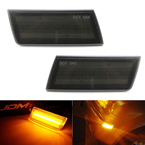iJDMTOY Smoked Lens Amber Full LED Front Side Marker Light Kit For 2005-10 Chrysler 300, Powered by 45-SMD LED, Replace OEM Sidemarker Lamps