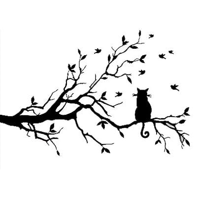 TOOGOO(R) Newly designed Cat On Long Tree Branch DIY Vinyl Wall Sticker Animals Birds Wall Decal Art Transfers Window Sticker Home Decor-99*150cm