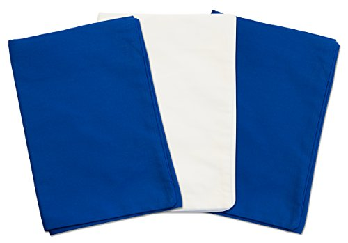 3 Toddler Pillowcases - 2 Blue and 1 White - Envelope Style - For Pillows Sized 13x18 and 14x19 - 100% Cotton With Percale Weave - Machine Washable - ZadisonJaxx ZacharyPaul Collection - 3 Pack by Zadisonjaxx