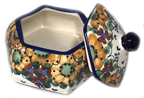 Polish Pottery Lidded Hex Shaped Trinket Box LB Avery Autumn Colors