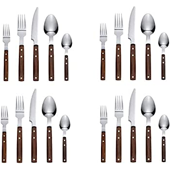 Premium Red Lacquered Flatware With Wooden Box set 20 piece Service for 4