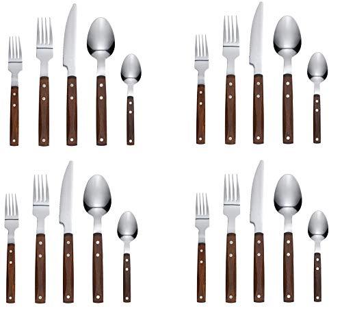Ikea Flatware 20 Piece Wood Stainless Steel Brown Rustik