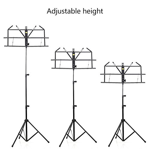 ADM Folding Adjustable Music Stand with Carrying Bag, Portable Metal Holder for Sheet Music, Black by ADM (Image #3)
