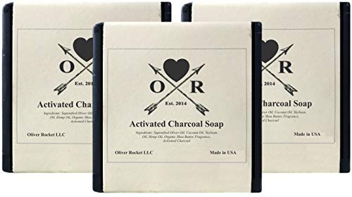 Oliver Rocket Activated Charcoal Soap (3 bar set) - 5 ounces each - Natural Handcrafted Face & Body Soap for Acne, Psoriasis, Eczema, Rosacea, Dry Sensitive Skin - Made in USA with Coconut & Olive Oil