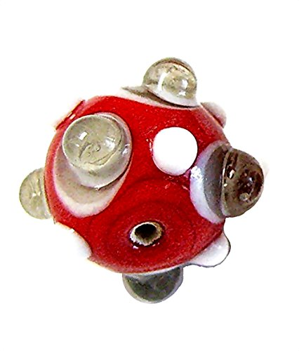 Linpeng 30 Piece Dotted Round Lampwork Glass, Red/Gray Bumpy Beads