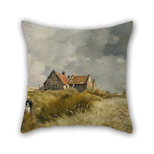 Cushion Cases of Oil Painting Jean Charles Cazin - Cottage in The Dunes 20 X 20 Inches / 50 by 50 cm Best Fit for Teens Boys Lounge Dinning Room Divan Kids Her Two Sides